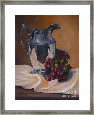 Water Pitcher With Fruit Framed Print by Lisa Phillips Owens