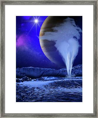 Water Plume On Europa Framed Print by Nasa/esa/k. Retherford/swri