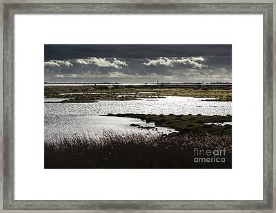 Water Reflection Storm Clouds At Farlington Marshes Wetlands Framed Print
