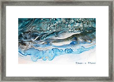 Water Ripples And Silver Linings Alcohol Inks Framed Print by Danielle  Parent