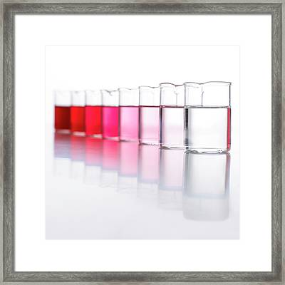 Water Samples Coloured With Beetroot Framed Print