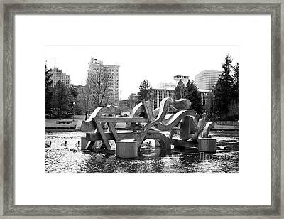 Water Sculpture In Spokane Framed Print by Carol Groenen