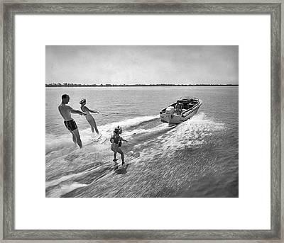 Water Skiing At Cypress Garden Framed Print