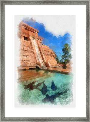 Water Slide At The Mayan Temple Atlantis Resort Framed Print