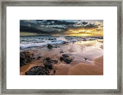 Water Splashing On The Beach Framed Print