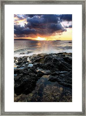 Water Splashing Onto The Lava Rock Framed Print