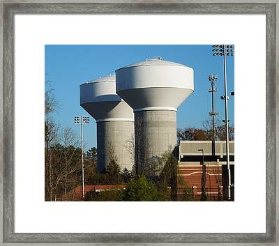 Framed Print featuring the photograph Water Tanks by Pete Trenholm