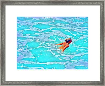 Water Textures. Art On Canary Islands. Atlantic Ocean. Tenerife. Playa De Las Americas. Wave.  Ebb A Framed Print by Andy Za