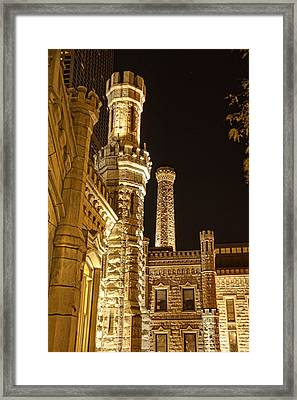 Water Tower At Night Framed Print