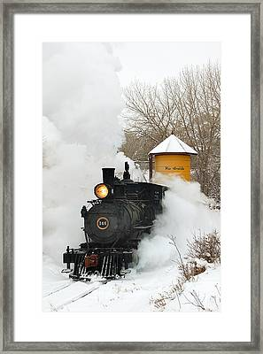 Water Tower Behind The Steam Framed Print by Ken Smith