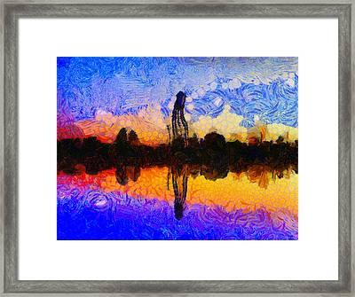 Water Tower Reflection At Sunset Framed Print by Dan Sproul