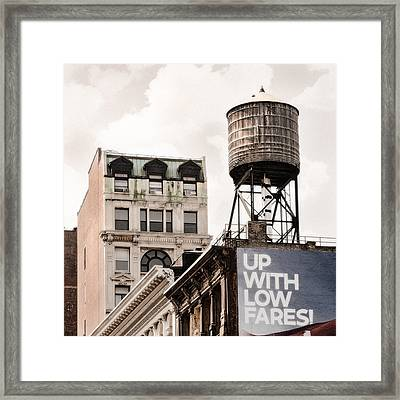 Framed Print featuring the photograph Water Towers 14 - New York City by Gary Heller