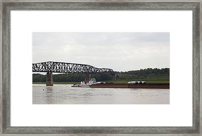Water Under The Bridge - Towboat On The Mississippi Framed Print by Jane Eleanor Nicholas