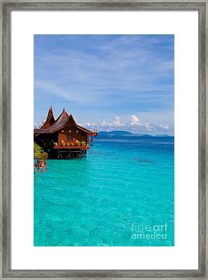 Water Village On Mabul Island Borneo Malaysia Framed Print