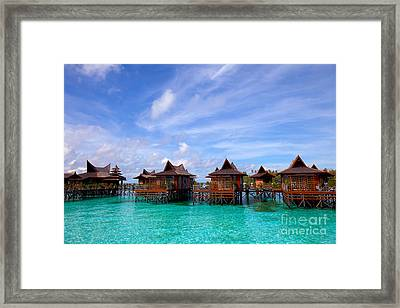 Water Village On Mabul Island Sipadan Borneo Malaysia Framed Print by Fototrav Print