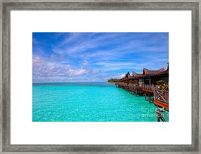 Water Village On Tropical Island Framed Print