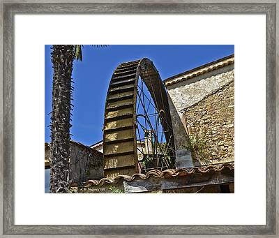 Framed Print featuring the photograph Water Wheel At Moulin A Huile Michel by Allen Sheffield