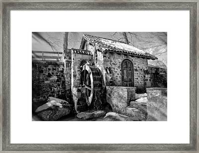 Water Wheel Mill At Eastern College In Black And White Framed Print