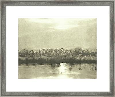 Water With Cornfield, Peter Henry Emerson Framed Print by Artokoloro