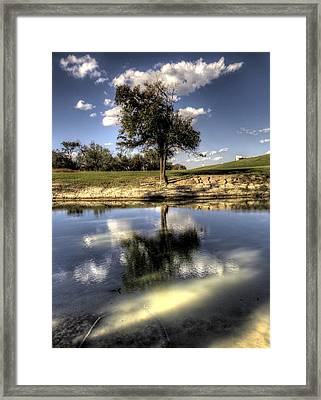 Water Wood And Hill By The Reed And Willow Framed Print by Micah Goff