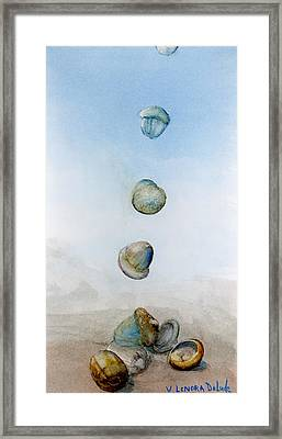 Framed Print featuring the painting Watercolor Acorn Falls by Lenora  De Lude