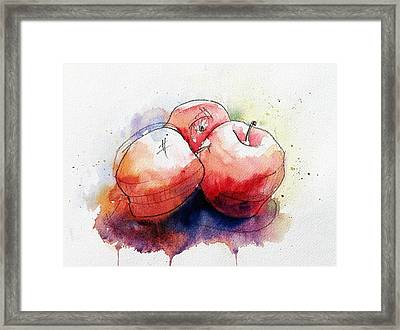 Watercolor Apples Framed Print by Andrew Fling