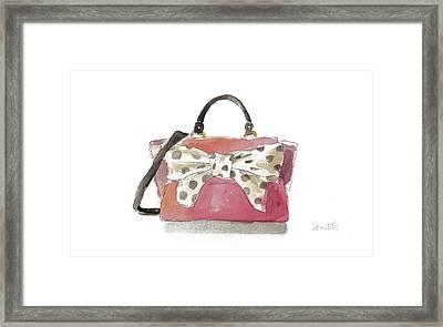 Watercolor Bow Satchel I Framed Print