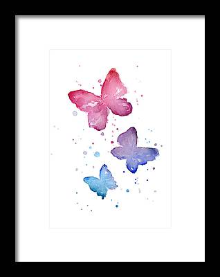 Blue Butterfly Framed Prints