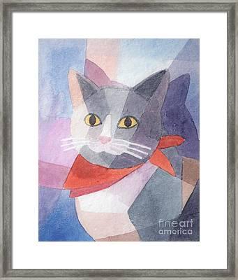 Watercolor Cat Framed Print by Lutz Baar