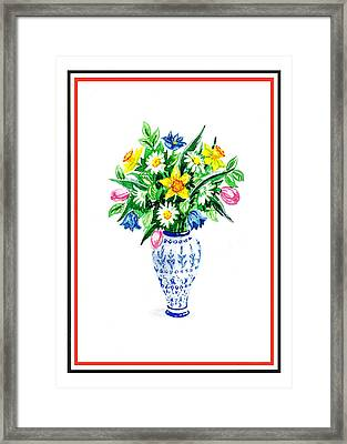 Watercolor Flowers Bouquet In Chinese Antique Vase Framed Print