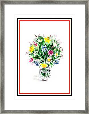 Watercolor Flowers Bouquet In The Glass Vase Framed Print