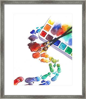 Watercolor Footprints Framed Print by Conni  Reinecke