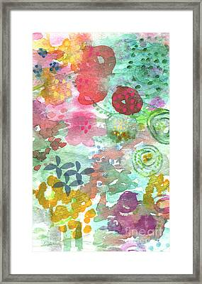 Watercolor Garden Blooms Framed Print by Linda Woods