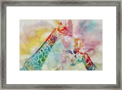 Watercolor Giraffes Framed Print