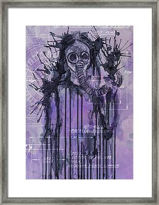 Watercolor Female Portrait Grunge Gas Mask Framed Print by Andy Gimino
