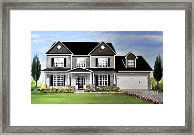 Watercolor Home Portrait 2 Framed Print
