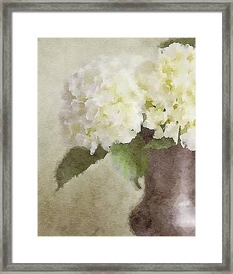 Watercolor Hydrangeas Framed Print by Lisa Russo