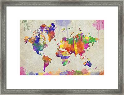 Watercolor Impression World Map Framed Print