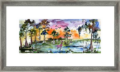 Watercolor Landscape Wetland Nature With Spoonbill Framed Print by Ginette Callaway