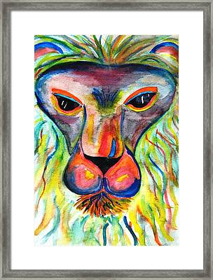Watercolor Lion Framed Print by Angela Murray