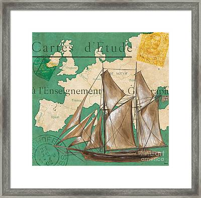 Watercolor Map 1 Framed Print by Debbie DeWitt