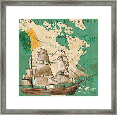 Watercolor Map 2 Framed Print by Debbie DeWitt