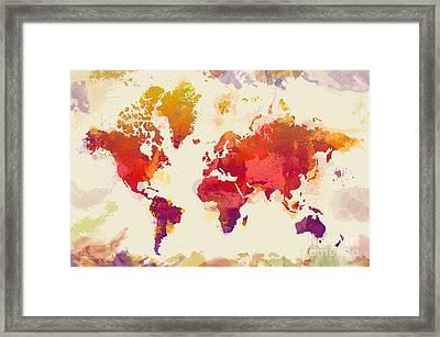 Watercolor Map Framed Print by Zaira Dzhaubaeva