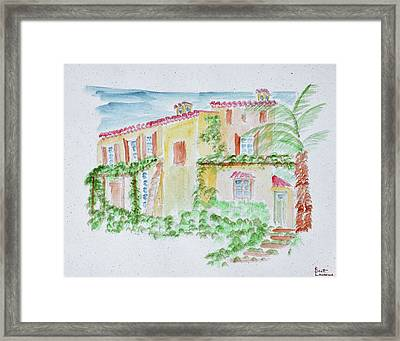 Watercolor Of A Typical French Home Framed Print