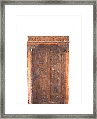 watercolor of antique Moroccan style wooden door on white wall Framed Print