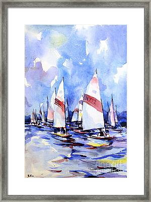 Watercolor Of Scow Boats Racing Torch Lake Mi Framed Print by Ryan Fox