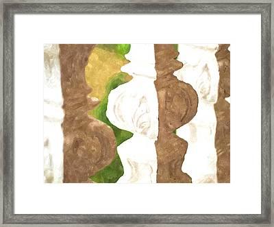 Watercolor Of White Banister Plaster Framed Print