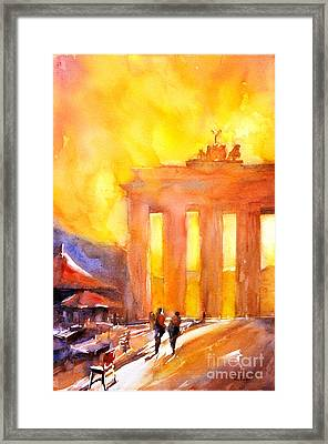 Watercolor Painting Of Brandenburg Gate Berlin Germany Framed Print by Ryan Fox