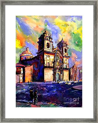 Watercolor Painting Of Church On The Plaza De Armas Cusco Peru Framed Print by Ryan Fox
