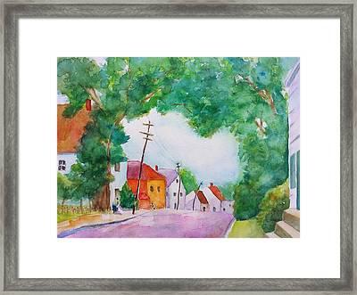 Watercolor Painting Of Cottage Street Framed Print by Carlin Blahnik
